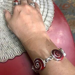 VTG Mexican Silver 925 Red Swirl Link Bracelet